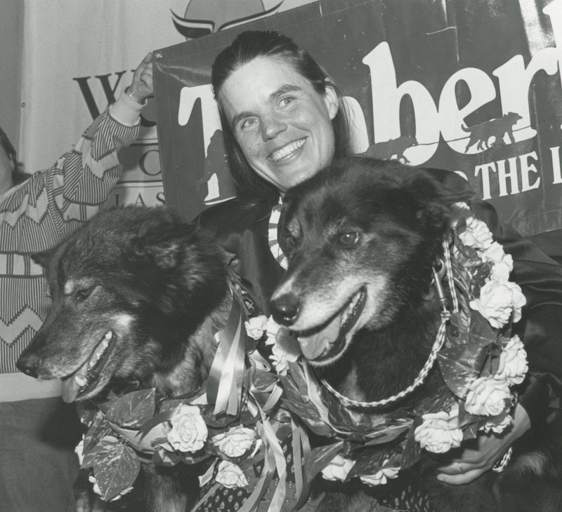 Susan At Finishers Banquet With Granite And Tolstoy In Flowers After Winning Race 1988